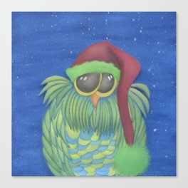 Ernesto the Secret Santa Owl Canvas Print