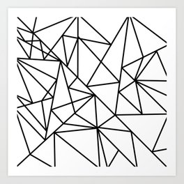 Black white modern abstract geometrical pattern Art Print