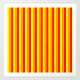 Warm stripes..yellow , orange red Art Print