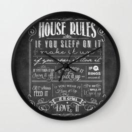 House Rules Retro Chalkboard Wall Clock