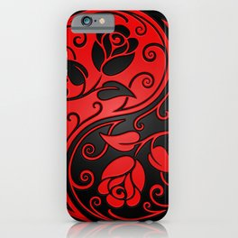 Red and Black Yin Yang Roses iPhone Case