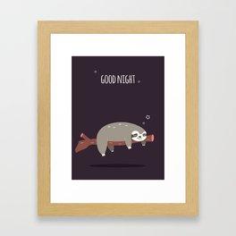 Sloth card - good night Framed Art Print