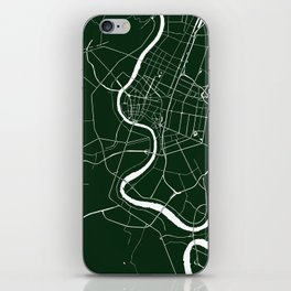 Bangkok Thailand Minimal Street Map - Forest Green and White iPhone Skin