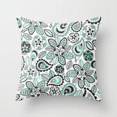 Aqua Paisley Throw Pillow