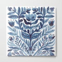 retro indigo watercolour florals Metal Print