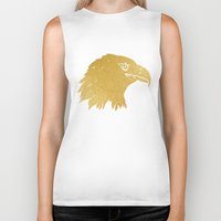 gold foil Biker Tanks featuring Gold Foil Eagle by Mod Pop Deco