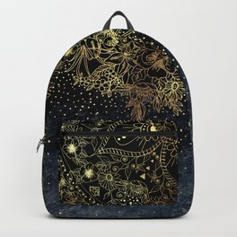 Stylish Gold floral mandala and confetti Backpack