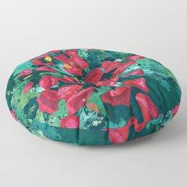 Rose Petals in Pool Water Art | Abstract Red Rose Floral Watercolor Art Print Floor Pillow