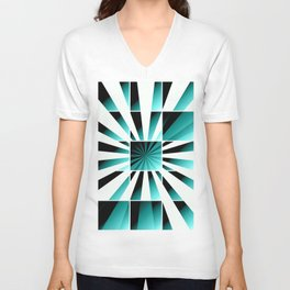 Abstract geometric turquoise Unisex V-Neck
