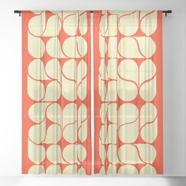 Mid-century abstract with red-no9 Sheer Curtain
