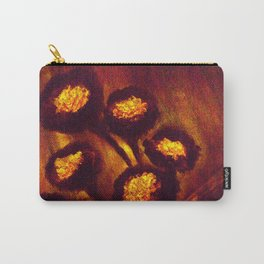 Brown Orange Flowers Luminous,Abstract Carry-All Pouch