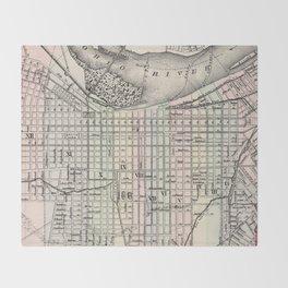Vintage Map of Louisville Kentucky (1884) Throw Blanket