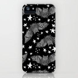 Creepy Cute Black and White Bat Pattern iPhone Case