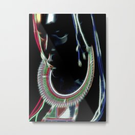 Ebony sculpture of a woman with masai ornaments Metal Print