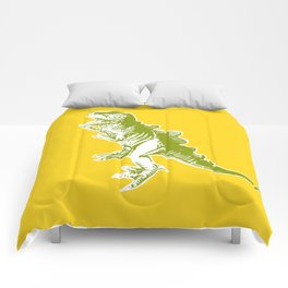 Dino Pop Art - T-Rex - Yellow & Olive Comforters