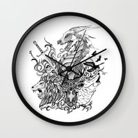 thrones Wall Clocks featuring Game of Thrones by Ink Tales