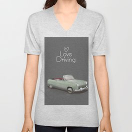 Love driving vintage car poster. Unisex V-Neck