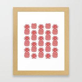Retro Mid Century Modern Pineapple Pattern Red Framed Art Print