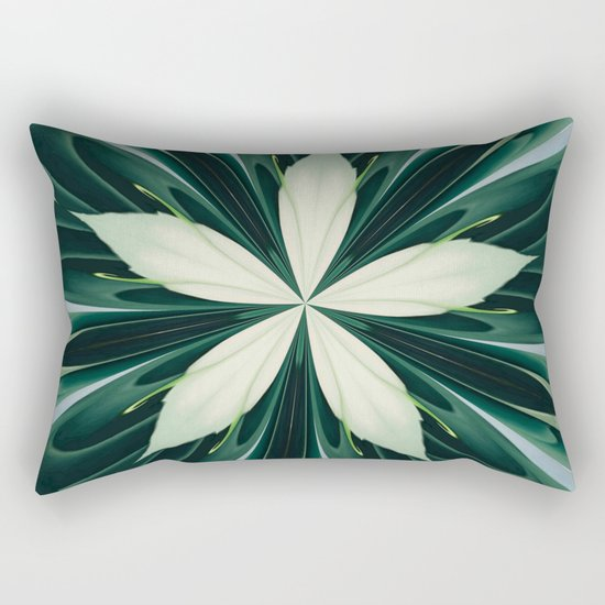 White Leaves In A Green Forest Kaleidoscope Rectangular Pillow