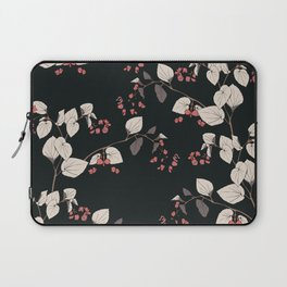 Branches of begonia with flowers and leaves on a black background. Vector seamless pattern. Laptop Sleeve