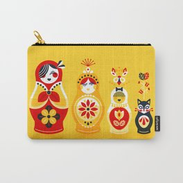 Russian Nesting Dolls – Yellow & Red Carry-All Pouch