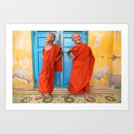 Strike a pose at the monastery, Cambodia Art Print