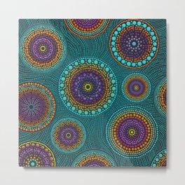Dot Art Circles Teals and Purples #2 Metal Print