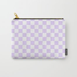 Large Chalky Pale Lilac Pastel Color and White Checkerboard Carry-All Pouch