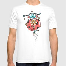RED BUG White Mens Fitted Tee MEDIUM