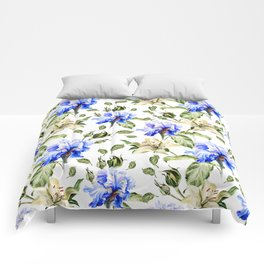 Irisis and lilies - flower pattern no3 Comforters