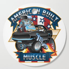 American Built Muscle - Classic Muscle Car Cartoon Illustration Cutting Board