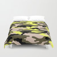 camouflage Duvet Covers featuring camouflage by RIZA PEKER