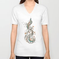 peacock V-neck T-shirts featuring Peacock by Tracie Andrews