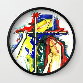 Lord Krishna & Radha - Handmade Water Color Artwork Wall Clock