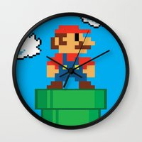 mario bros Wall Clocks featuring Mario Bros by WaXaVeJu