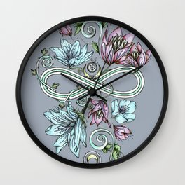 Infinity Floral Moon Garden in Gray Wall Clock