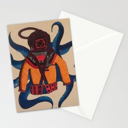 Orange Scuba Diver Stationery Cards