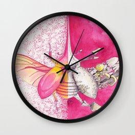 Pink Hercules Beetle / Mushroom Art | Watercolor Painting Wall Clock
