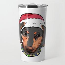 Dachshund Dog Christmas Hat Present Travel Mug