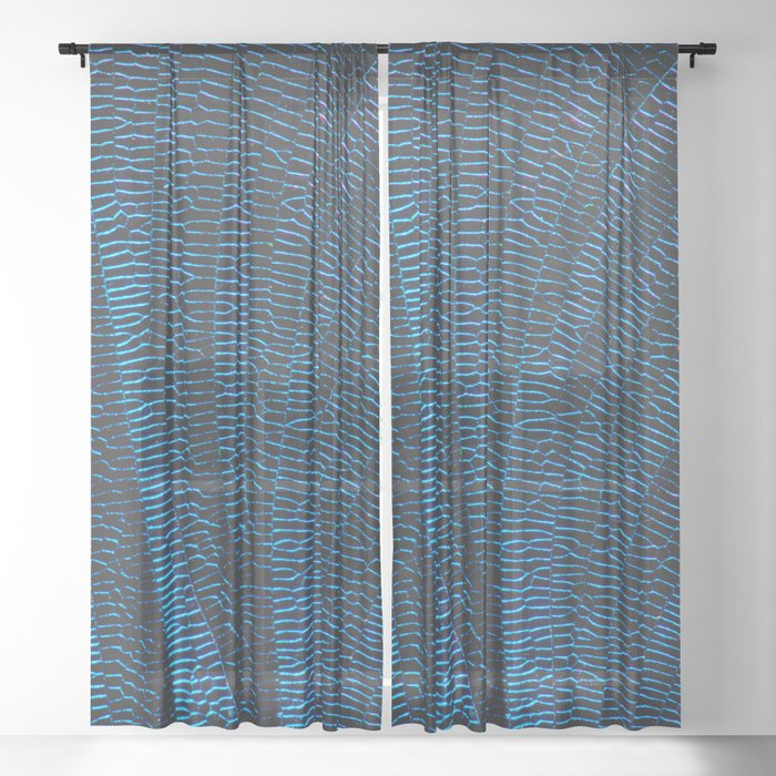 Dragonfly shiny vibrant blue wings Sheer Curtain