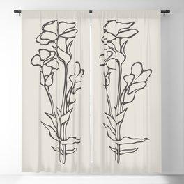 6-2012-1, Beige & Dark brown, Floral Botanical art, Wild flower, Plant Leaves, Boho decor, Blackout Curtain