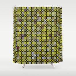Yellow Cross Stitch Shower Curtain