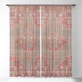 Khamseh  Antique Fars Persian Rug Print Sheer Curtain