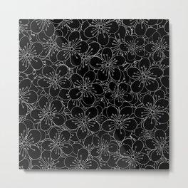 Cherry Blossom Black on White - In Memory of Mackenzie Metal Print