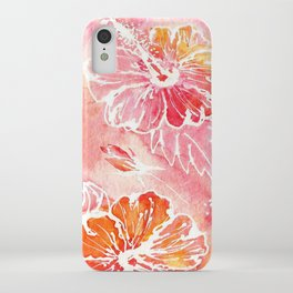 Hibiscus | Tropical Watercolor in Coral, Pink, Orange | #hibiscus #tropicalflower iPhone Case