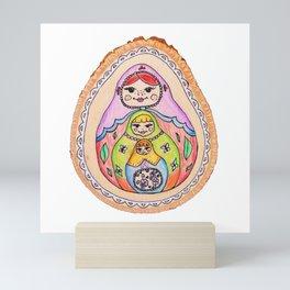 Matryoshka Russian Dolls Wood Design Mini Art Print