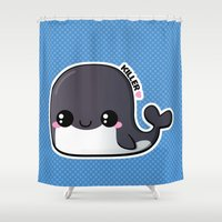 killer whale Shower Curtains featuring Kawaii Killer Whale by Katie White