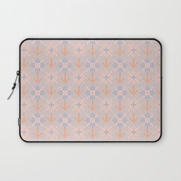 Pastel coral blue orange abstract cross stich pattern Laptop Sleeve