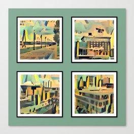 Kansas City Landmarks in Retro Fifties Style Canvas Print