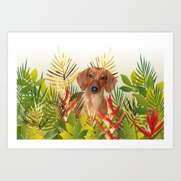 Little Dog with with Palm leaves Art Print